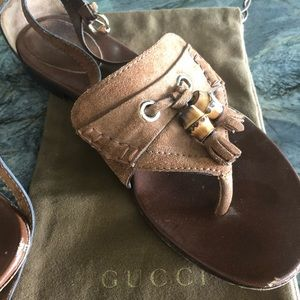 Gucci Shoes - Gucci Suede Bamboo Sandals